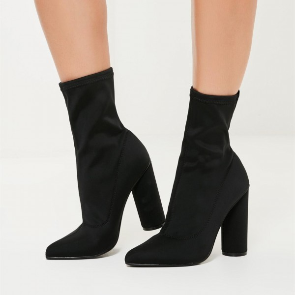 fashion_black_chunky_heel_boots_classic_elastic_ankle_booties